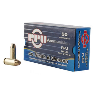 Prvi Partizan PPU .40 S&W Ammunition 50 Rounds 165 Grain Flat Point Jacketed 1000fps