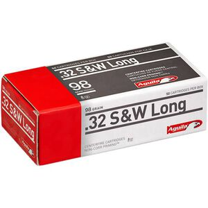 Aguila .32 S&W Long Ammunition 50 Rounds 98 Grain LRN 705fps