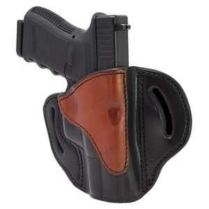 1791 Gunleather Open Top Multi-Fit 2.1 OWB Belt Holster for Sub Compact/Compact/Full Size Semi Auto Models Right Hand Draw Leather Brown/Black