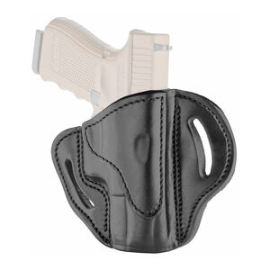 1791 Gunleather Open Top Multi-Fit 2.1 OWB Belt Holster for Sub Compact/Compact/Full Size Semi Auto Models Right Hand Draw Leather Stealth Black