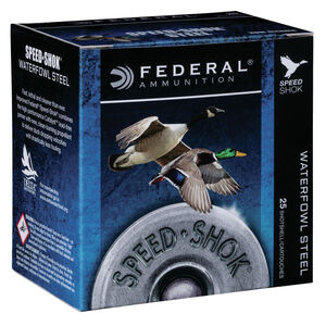 "Federal Speed Shok Waterfowl Steel 12 Gauge Ammunition 3"" #4 Steel Shot 1-1/8 oz 1550 fps"