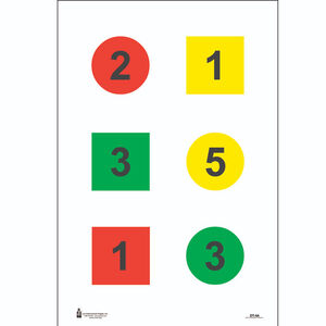 """Action Target Discretionary Command Training Target (Version 4-A) 23"""" x 35"""" Black Blue Red Yellow 100 Pack"""