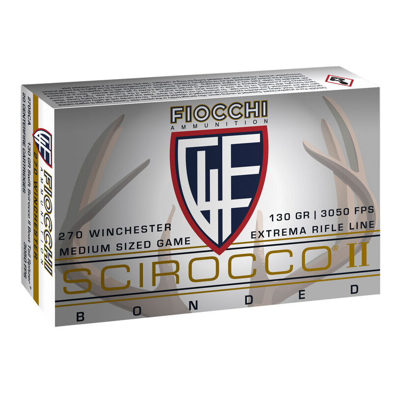 Fiocchi Extrema Rifle Line .270 Winchester Ammunition 20 Rounds 130 Grain Swift Scirocco II Boat Tail Spitzer Projectile 3050 fps
