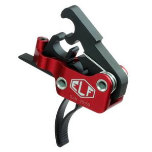 Elftmann Tactical AR-9/AR-45 Trigger Standard Small Pin Curved Trigger Shoe Adjustable Trigger Pull Red Hosing Black Trigger