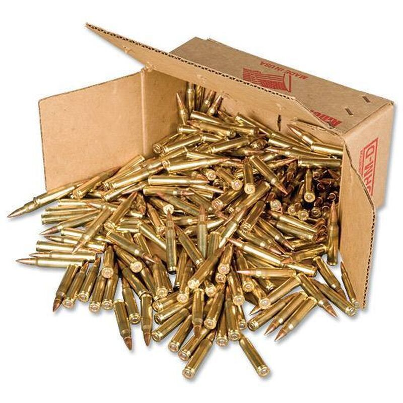 American Quality .223 Remington Ammunition 500 Rounds FMJ 55 Grain Winchester Brass