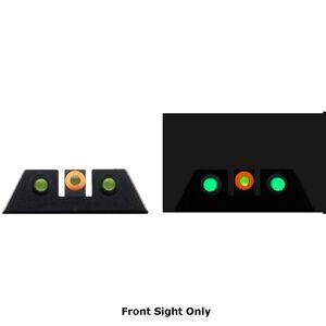 Night Fision Glow Dome Tritium Night Sight Front Sight Fits S&W M&P Models Green Tritium/Orange Ring Metal Body Black Finish