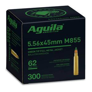 Aguila SS109 Green Tip 5.56x45 NATO M855 Ammunition 300 Rounds FMJGT 62 Grain Brass Cased Bulk Pack 1E556125