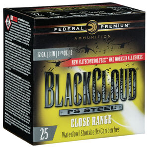 "Federal Black Cloud FS Steel Close Range 12 Gauge Ammunition 3"" #2 1-1/4 Oz Steel Shot 1450 fps"
