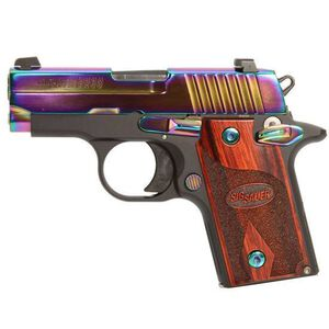 "SIG Sauer P238 Special Edition Rainbow Titanium Semi Automatic Handgun .380 ACP 2.7"" Barrel 6 Rounds Rosewood Grips Rainbow Titanium Finish 238-380-RBT"