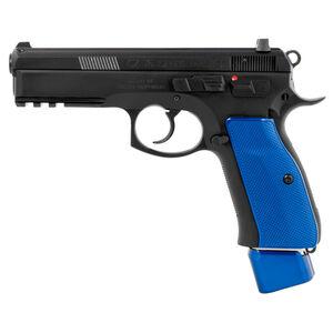 "CZ 75 SP-01 9mm Luger Semi Auto Handgun 4.6"" Barrel 22 Rounds Picatinny Accessory Rail Steel Frame Matte Black Finish Blue Henning Aluminum Grip"