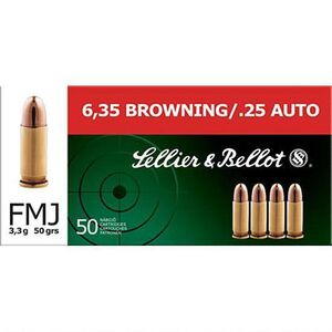Sellier & Bellot .25 ACP Ammunition 50 Rounds FMJ 50 Grains SB25A