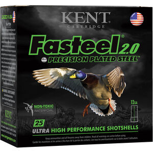 "Kent Cartridge Fasteel 2.0 Waterfowl 12 Gauge Ammunition 250 Rounds 2-3/4"" Shell #2 Zinc-Plated Steel Shot 1-1/4oz 1300fps"