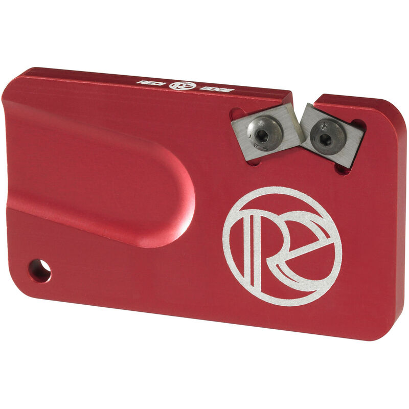 Redi-Edge Pocket Knife Sharpener Right Handed Duromite Blades Red Anodized Aluminum Body