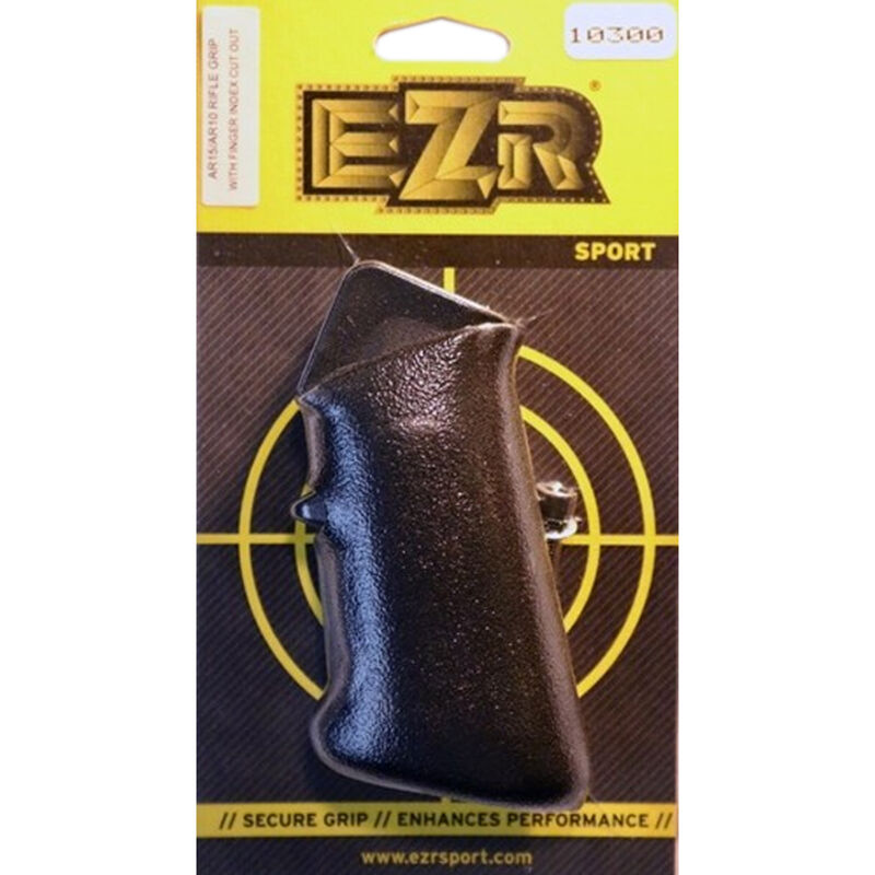 EZR Sport AR15/AR10 Rifle Grip with Finger Index and Grip Sleeve with Cut-Out Polymer Black