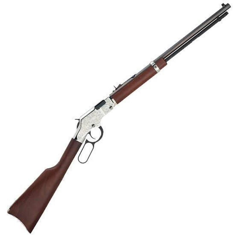 """Henry Silver Eagle Lever Action Rifle .22 LR 20"""" Barrel 16 Rounds American Walnut Stock Nickel Receiver with Scroll Engraving H004SE"""