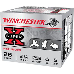 "Winchester Super X  28 Gauge Ammunition 25 Rounds, 2.75"" High Brass, #5"