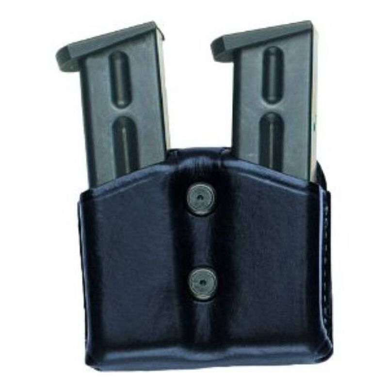 Aker Leather Carry Comp 2 Double Magazine Carrier Leather 9mm 40 Caliber Black