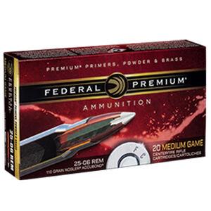 Federal Premium Nosler .25-06 Remington Ammunition 20 Rounds 110 Grain Nosler Accubond 3100fps