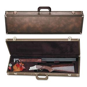 """Browning Traditional Fitted Over/Under Shotgun Luggage Case 32"""" Shotguns Foam Padded Shaped Compartment Wood Frame Vinyl Shell Brown"""