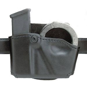 Safariland Model 573 Open Top Magazine/Handcuff Pouch Group 1 Leather Look Right Hand Draw Plain Finish Black 573-383-21