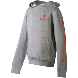 Browning Youth Hoodie Sweatshirt Size Large Cotton/Polyester Heather Gray 511001L