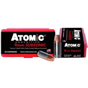 Atomic Subsonic 9mm Luger Ammunition 50 Rounds 147 Grain Bonded Match Hollow Point 900fps