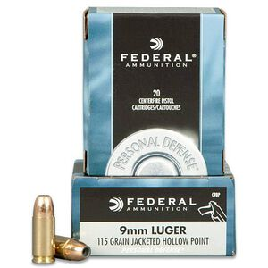 Federal Personal Defense 9mm Luger Ammunition 20 Rounds JHP 115 Grains C9BP