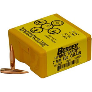 "Berger Target Bullets 7mm Caliber .284"" Diameter 180 Grain HPBT Match Hybrid Bullet 100 Per Box 28407"