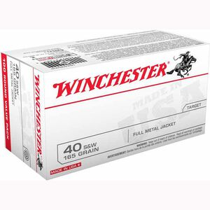 Winchester USA .40 S&W Ammunition 500 Rounds, FMJ, 165 Grain