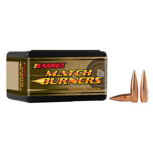 "Barnes Match Burner 6.5mm Caliber .264"" Diameter 120 Grain Hollow Point Boat Tail Projectile 100 Per Box"