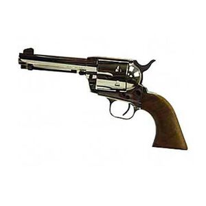 """European American Armory Bounty Hunter Revolver Single Action Army .22LR / .22WMR, 4.75"""" Barrel, Nickel Finish, Walnut Grips, 8 Rounds, Right Hand, 2 Cylinders Included, 43.2oz, Fixed Sights 771125"""