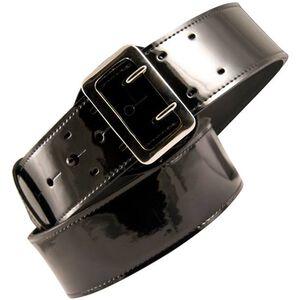 "Boston Leather Lined Sam Browne Belt 38"" Chrome Clarino Blk"