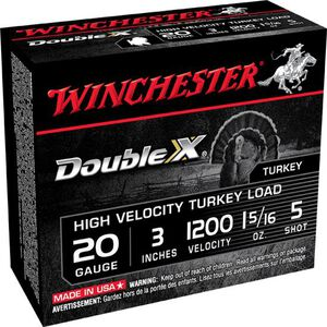 "Winchester Double X 20 Gauge Ammunition 10 Rounds, 3"", Plated #5"