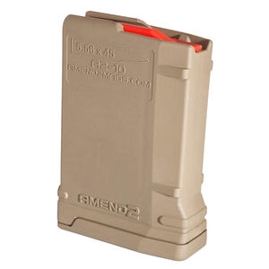 Amend2 Mod-2 AR-15 10 Round Magazine .223 Remington/5.56 NATO Anti-tilt Super Follower Stainless Steel Spring Polymer Flat Dark Earth