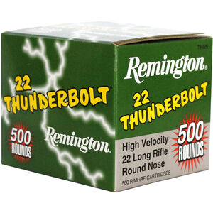 Remington 22 Thunderbolt .22LR Ammunition 40 Grain Lead Round Nose 1255 fps