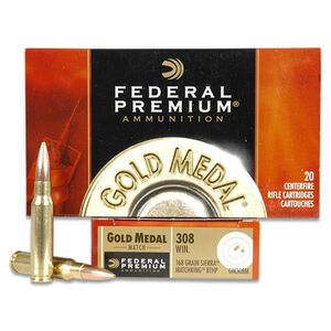Federal Gold Medal Match .308 Winchester Ammunition 168 Grain Sierra MatchKing BTHP 20 Rounds 2650