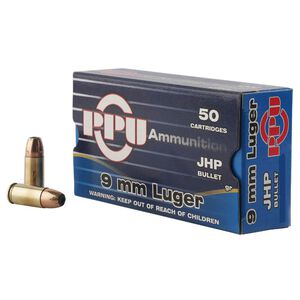 Prvi Partizan PPU 9mm Luger Ammunition 50 Rounds 147 Grain JHP 990fps