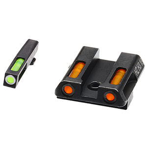 HiViz Litewave H3 Tritium/Litepipe fits GLOCK 42/43 Models Green Front Sight with White Front Ring/Orange Rear Sight Steel Housing Matte Black