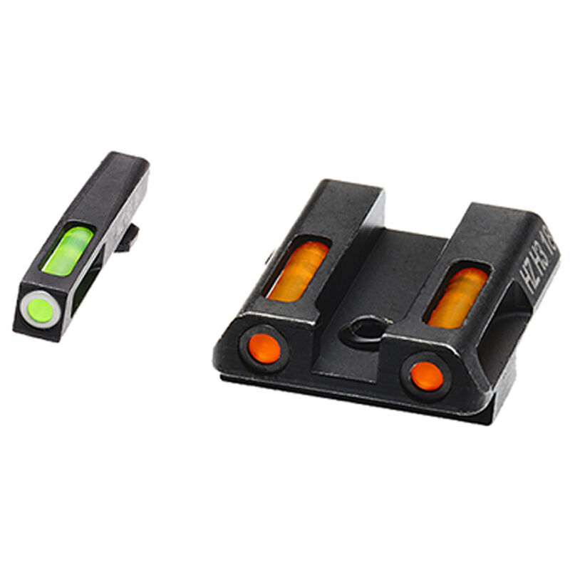 HiViz Litewave H3 Tritium/Litepipe fits GLOCK 42/43 Models Green Front Sight with White Front Ring/Orange Rear Sight Steel Housing Matte Black