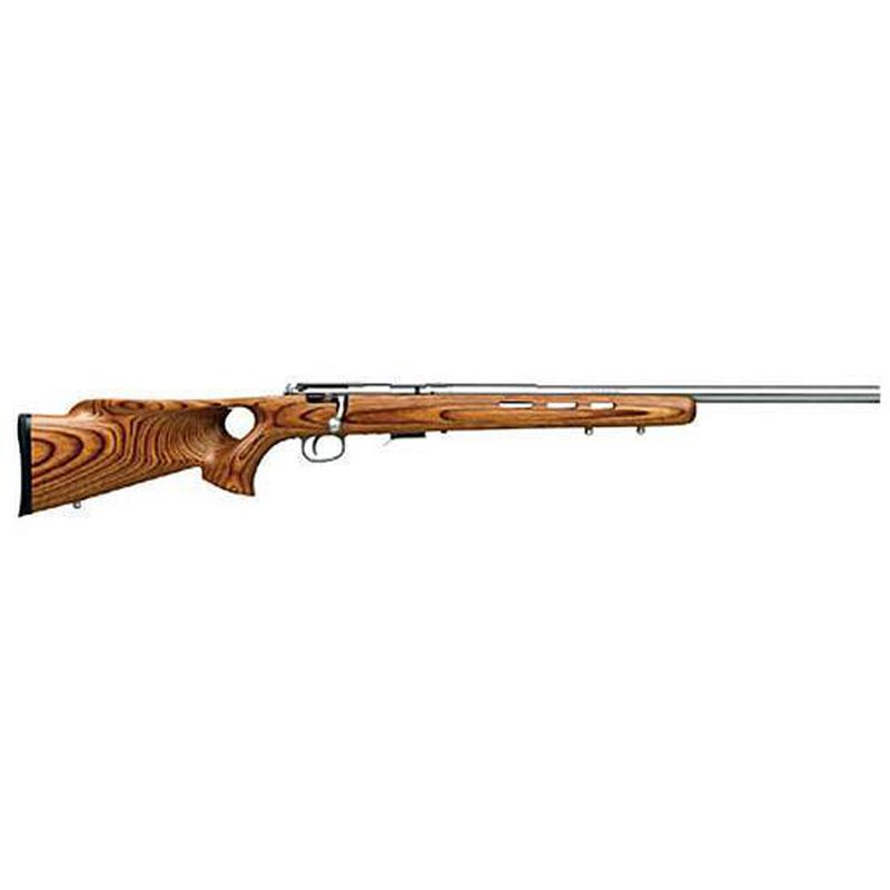 """Savage Arms 93BTVS Bolt Action Rifle .22 WMR 21"""" Stainless Steel Bull Barrel 5 Rounds Natural Wood Thumbhole Stock"""