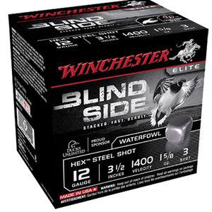 "Winchester Blind Side 12 Gauge Ammunition 25 Round Box 3-1/2"" #3 Hex Steel Shot 1-5/8 oz 1400 fps"