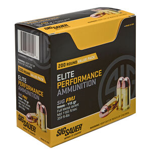 SIG Sauer Elite Performance 9mm Luger Ammunition 200 Rounds 115 Grain Full Metal Jacket 1185fps