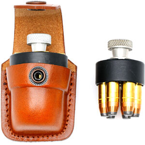 """JBP Single Speed Loader Case Fits .357 and .44 Magnum Brown Leather Pouch  Fits up to 1 3/4"""" Belt"""