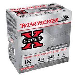 """Winchester Super X Expert 12 Gauge Shot Shells 25 Rounds 2 3/4"""" #6 Steel 1 Ounce WE12GT6"""
