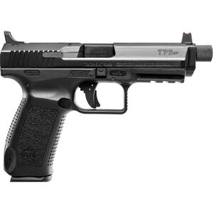 "Century Arms TP9SFT Semi Auto Handgun 9mm Luger 4.98"" Threaded Barrel 18 Rounds Warren Suppressor Sights with FO Front Sight Polymer Frame Black"