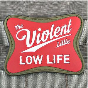 """Violent Little Machine Shop Violent Little Low Life Morale Patch 3""""x2.5"""" PVC Velcro Red and White"""