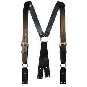 Boston Leather Fireman's Leather Suspenders Extra Long Black
