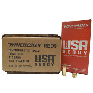Winchester USA Ready 9mm Ammunition 500 Rounds FMJFN 115 Grains 1190 fps