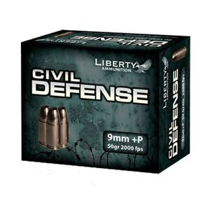 Ammo 9mm Luger +P Liberty Civil Defense 50 Grain Copper Hollow Point 2000 fps 20 Rounds LACD9014