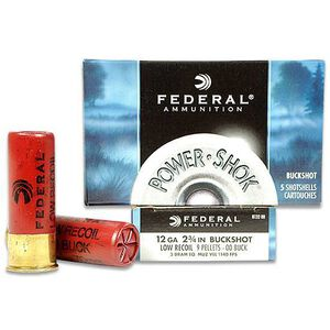 "Federal Power-Shok Buckshot Low Recoil 12 Gauge 5 Rounds, 2.75"" 00 Buck"